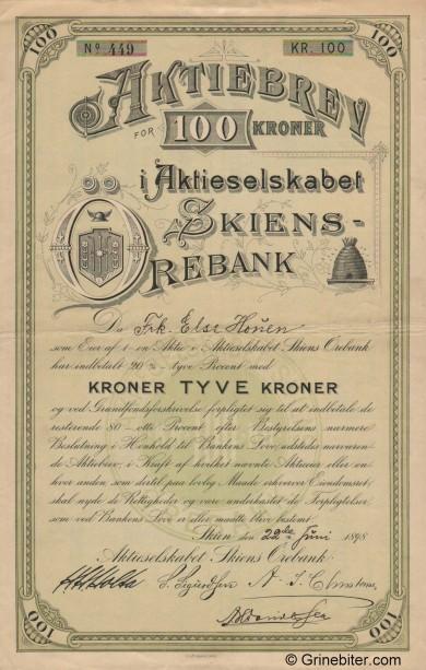 Skiens Ørebank aksjebrev old stock Certificate