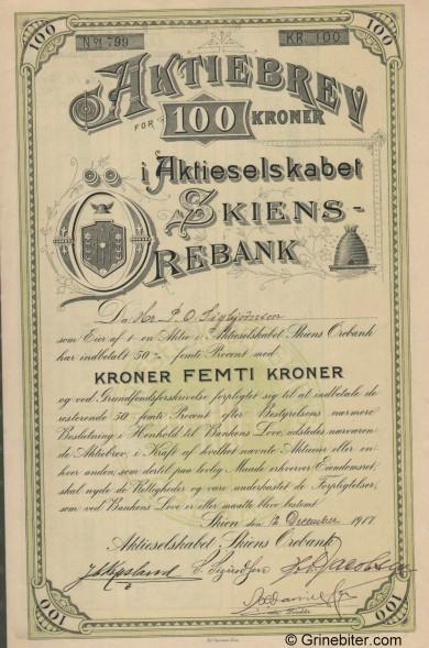 Skiens Ørebank A/S - Picture of Norwegian Bank Certificate