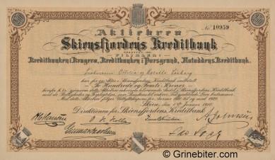 Skiensfjordens Kreditbank - Picture of Norwegian Bank Certificate