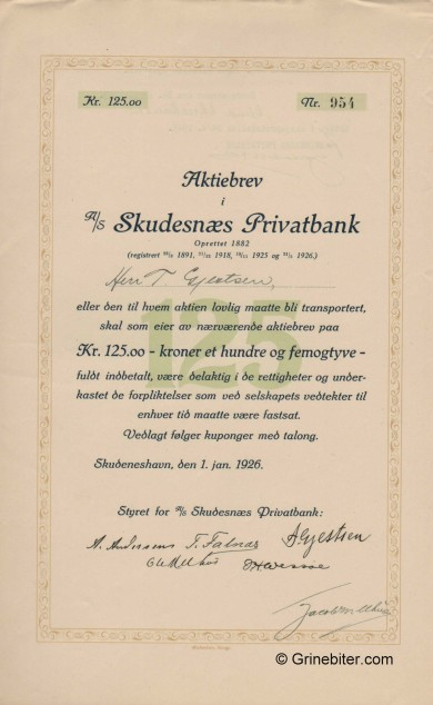 Skudenæs Privatbank A/S - Picture of Norwegian Bank Certificate