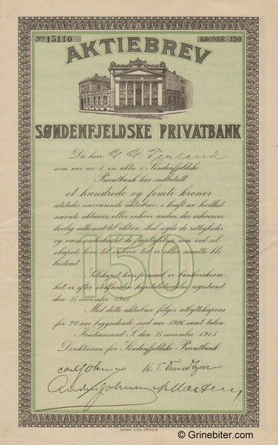 Søndenfjeldske Privatbank - Picture of Norwegian Bank Certificate