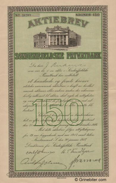 Søndenfjeldske Privatbank - Picture of Norwegian Bank Certificate