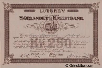 Sørlandets Kreditbank L/L - Picture of Norwegian Bank Certificate