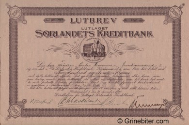 Sørlandets Kreditbank L/L - Picture of Norwegian Bank Certificate