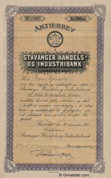 Stavanger Handels og Industribank - Picture of Norwegian Bank Certificate