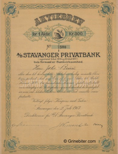 Stavanger Privatbank A/S - Picture of Norwegian Bank Certificate