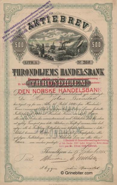 Throndhjems Handelsbank - Picture of Norwegian Bank Certificate