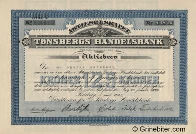 Tønsbergs Handelsbank - Picture of Norwegian Bank Certificate