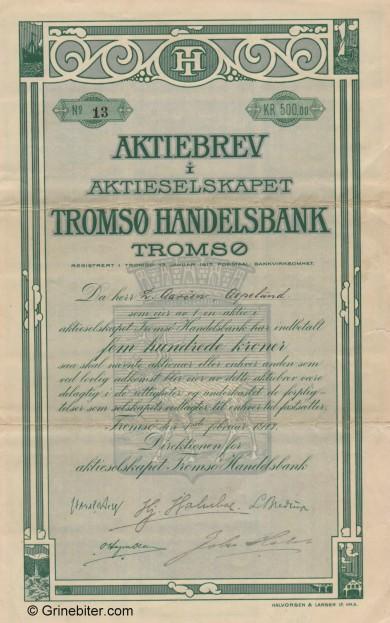 Tromsø Handelsbank A/S - Picture of Norwegian Bank Certificate