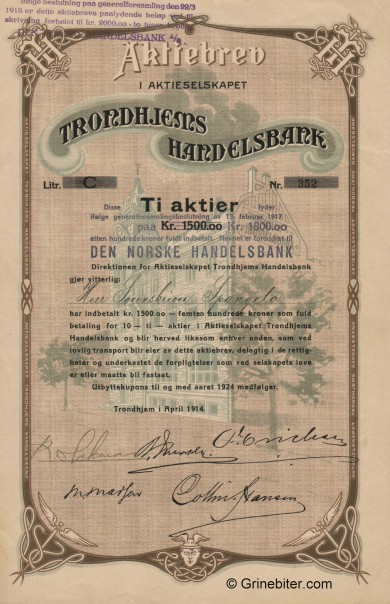 Trondhjems Handelsbank - Picture of Norwegian Bank Certificate