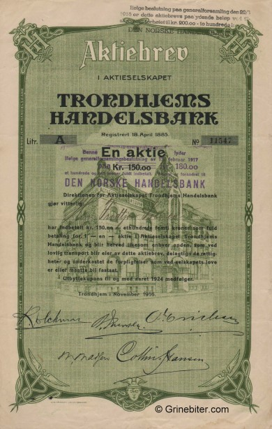 Trondhjems Handelsbank - Picture of Norwegian Bank Certificate