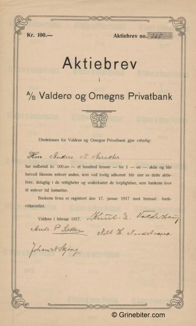 Valderø og Omegns Privatbank - Picture of Norwegian Bank Certificate