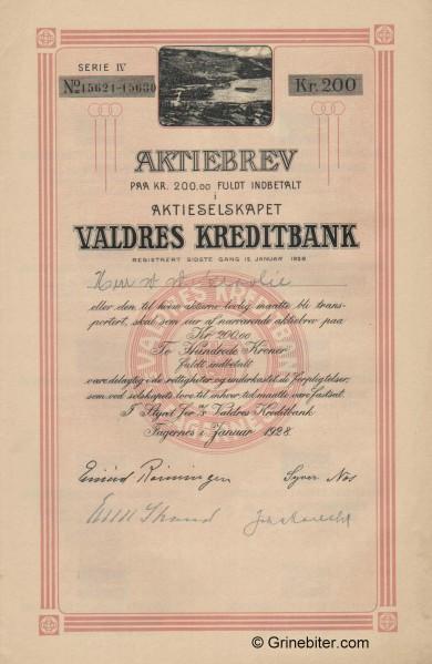 Valdres Kreditbank A/S - Picture of Norwegian Bank Certificate