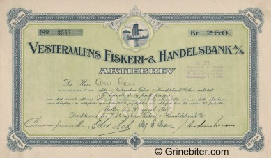 Vesteraalens Fiskeri & HB - Picture of Norwegian Bank Certificate