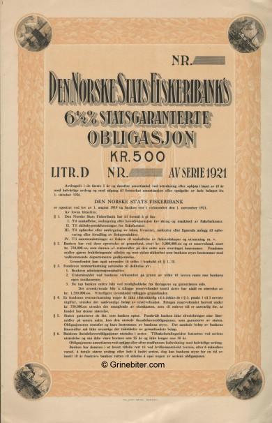 Den Norske Stats Fiskeribanks Laan Bond Certificate Obligasjon