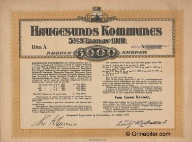 Haugesunds Kommunes Laan Bond Certificate Obligasjon
