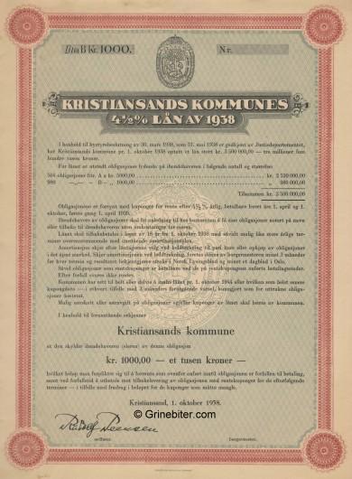 Kirstiansands Kummunes Laan av 1938 Bond Certificate Obligasjon