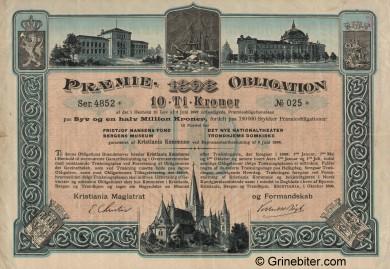 Kristiania Kommune Pramie Obligation Bond Certificate Obligasjon