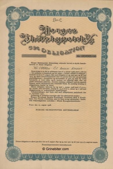 Norges Skibshypotek Bond Certificate Obligasjon