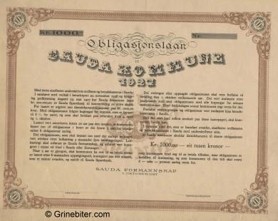 Sauda Kommune 1927 Bond Certificate Obligasjon
