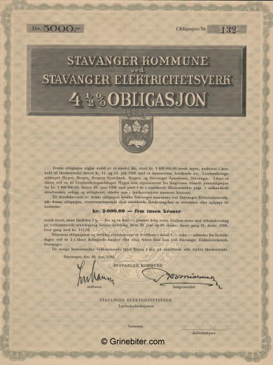 Stavanger Kommune ved Stavanger Elektricitietsverk Bond Certificate Obligasjon