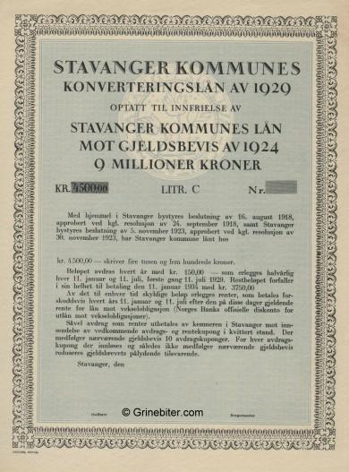 Stavanger Kommunes Konverteringslan av 1924 Bond Certificate Obligasjon