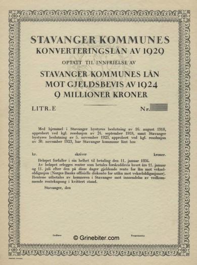 Stavanger Kommunes Konverteringslan av 1929 Bond Certificate Obligasjon