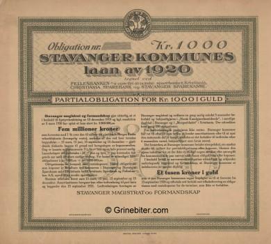 Stavanger Kommunes laan av 1920 Bond Certificate Obligasjon