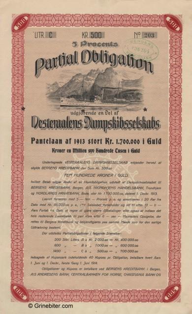 Vesteraalens Dampskibsselskap Bond Certificate Obligasjon
