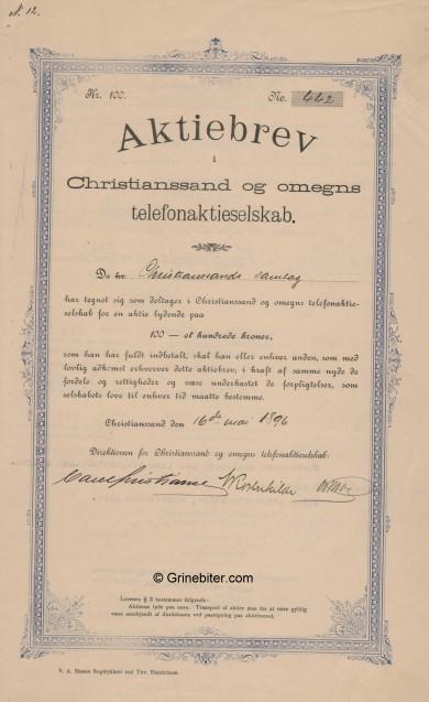 Christianssand og Omegns Telefonaktieselskap Stock Certificate Aksjebrev