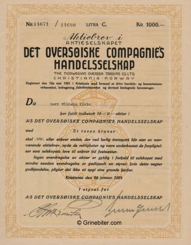 Det Oversöiske Compagnie Stock Certificate Aksjebrev
