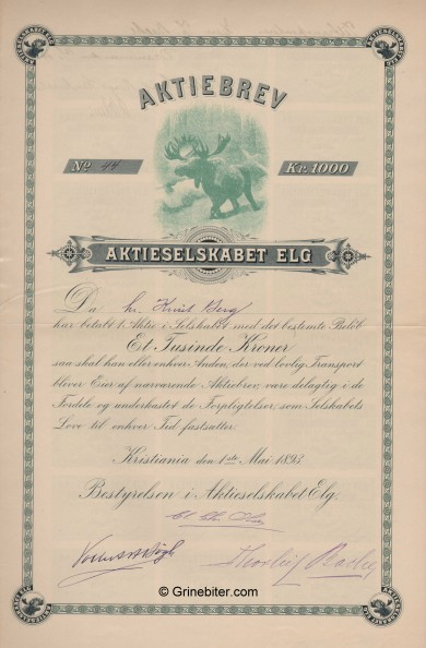 Elg old stock Certificate