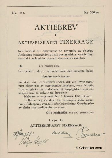 Fixerage A/S Stock Certificate Aksjebrev