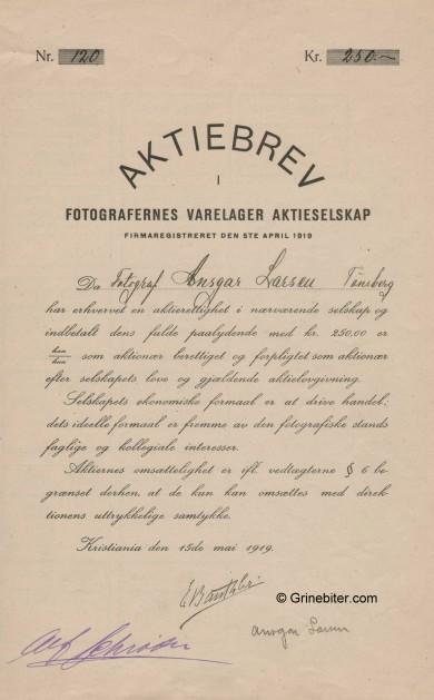 Fotografenes Varelager Stock Certificate Aksjebrev