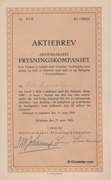Frysningskompaniet A/S Stock Certificate Aksjebrev