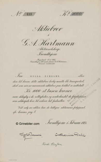 G. A. Hartmann A/S Stock Certificate Aksjebrev