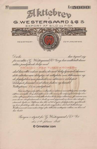 G. Westergaard & Co Stock Certificate Aksjebrev