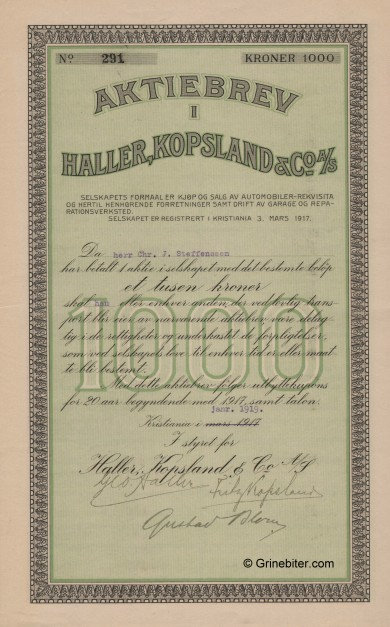 Haller,Koplands & Co A/S Stock Certificate Aksjebrev