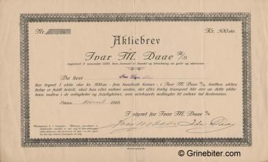 Ivar M. Daae Stock Certificate Aksjebrev