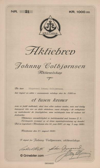 Johnny Colbjørnsen Stock Certificate Aksjebrev
