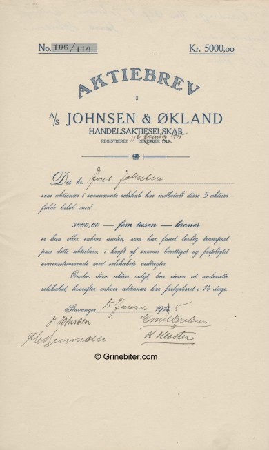 Johnsen & Økland Stock Certificate Aksjebrev