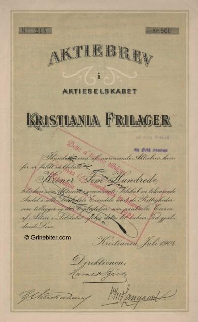 Kristiania Frilager Stock Certificate Aksjebrev