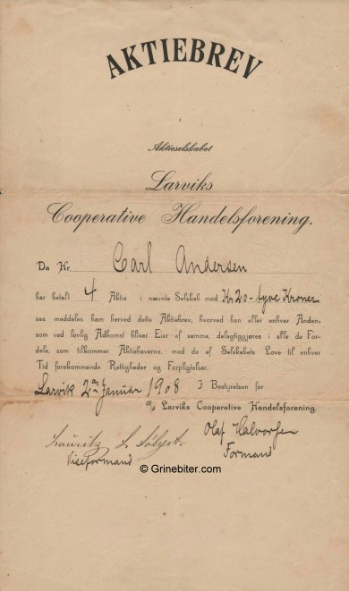 Larviks Cooperative Handelsforening Stock Certificate Aksjebrev