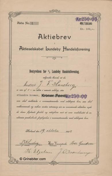 Lundeby Handelsforening Stock Certificate Aksjebrev