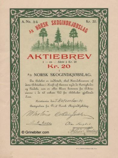 Norsk Skogindkjøbslag Stock Certificate Aksjebrev
