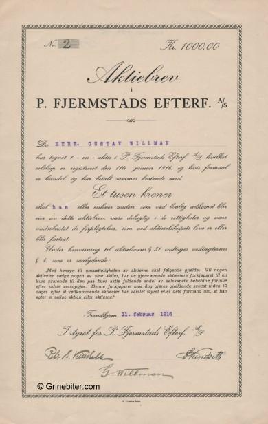P. Fjermstads Efterf Stock Certificate Aksjebrev