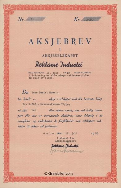 Reklame Industri Stock Certificate Aksjebrev