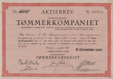 Tømmerkompaniet Stock Certificate Aksjebrev
