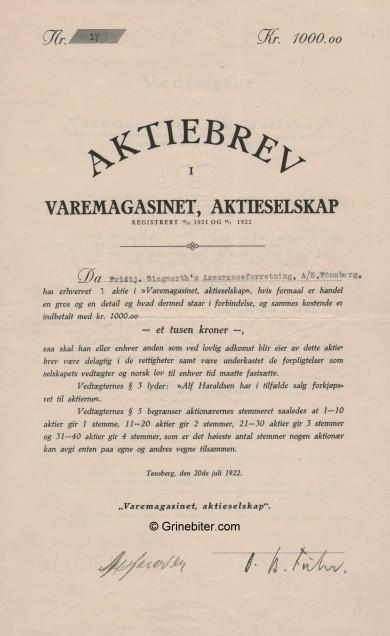 Varemagasinet A/S Stock Certificate Aksjebrev