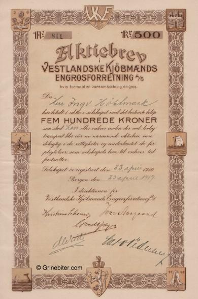 Vestlandske Kjöbmænds Engrosforretning Stock Certificate Aksjebrev